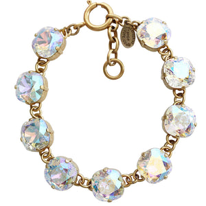 "Catherine Popesco 14k Gold Plated Crystal Round Bracelet, 7-8"" 1696G Crystal AB * Limited Edition *"