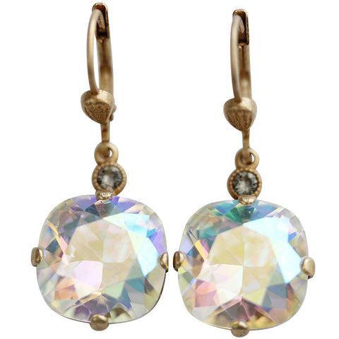 Catherine Popesco 14k Gold Plated Crystal Round Earrings, 6556G Crystal AB * Limited Edition *