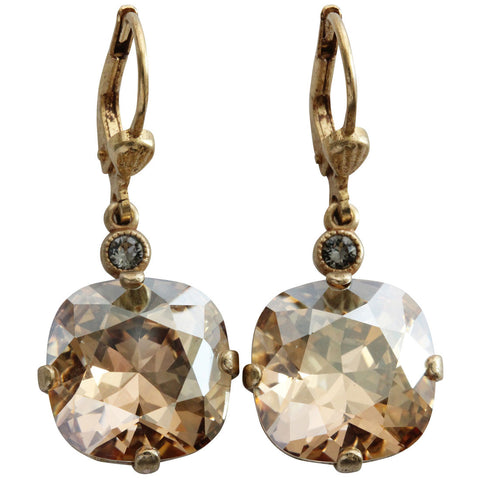 Catherine Popesco 14k Gold Plated Crystal Round Earrings, 6556G Champagne