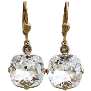 Catherine Popesco 14k Gold Plated Crystal Round Earrings, 6556G Clear