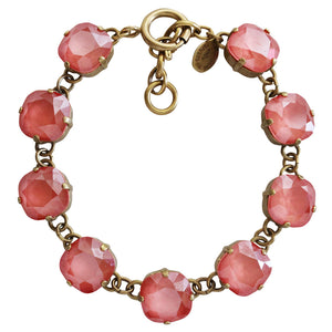 "Catherine Popesco 14k Gold Plated Crystal Round Bracelet, 7-8"" 1696G Light Coral"