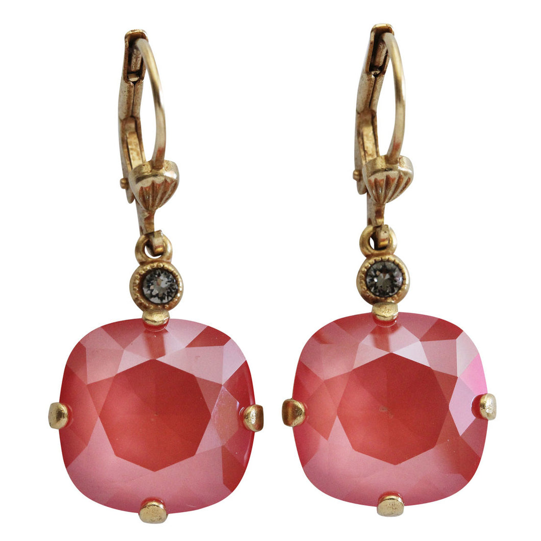 Catherine Popesco 14k Gold Plated Crystal Round Earrings, 6556G Light Coral