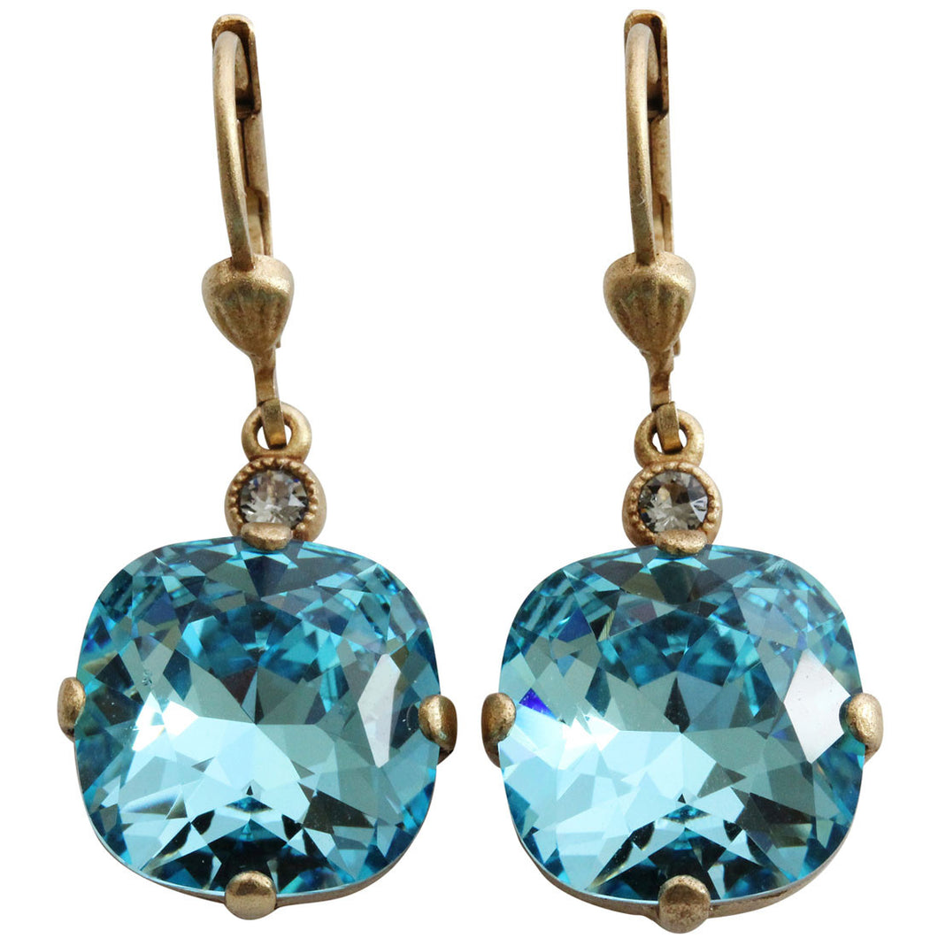 Catherine Popesco 14k Gold Plated Crystal Round Earrings, 6556G Electric Blue