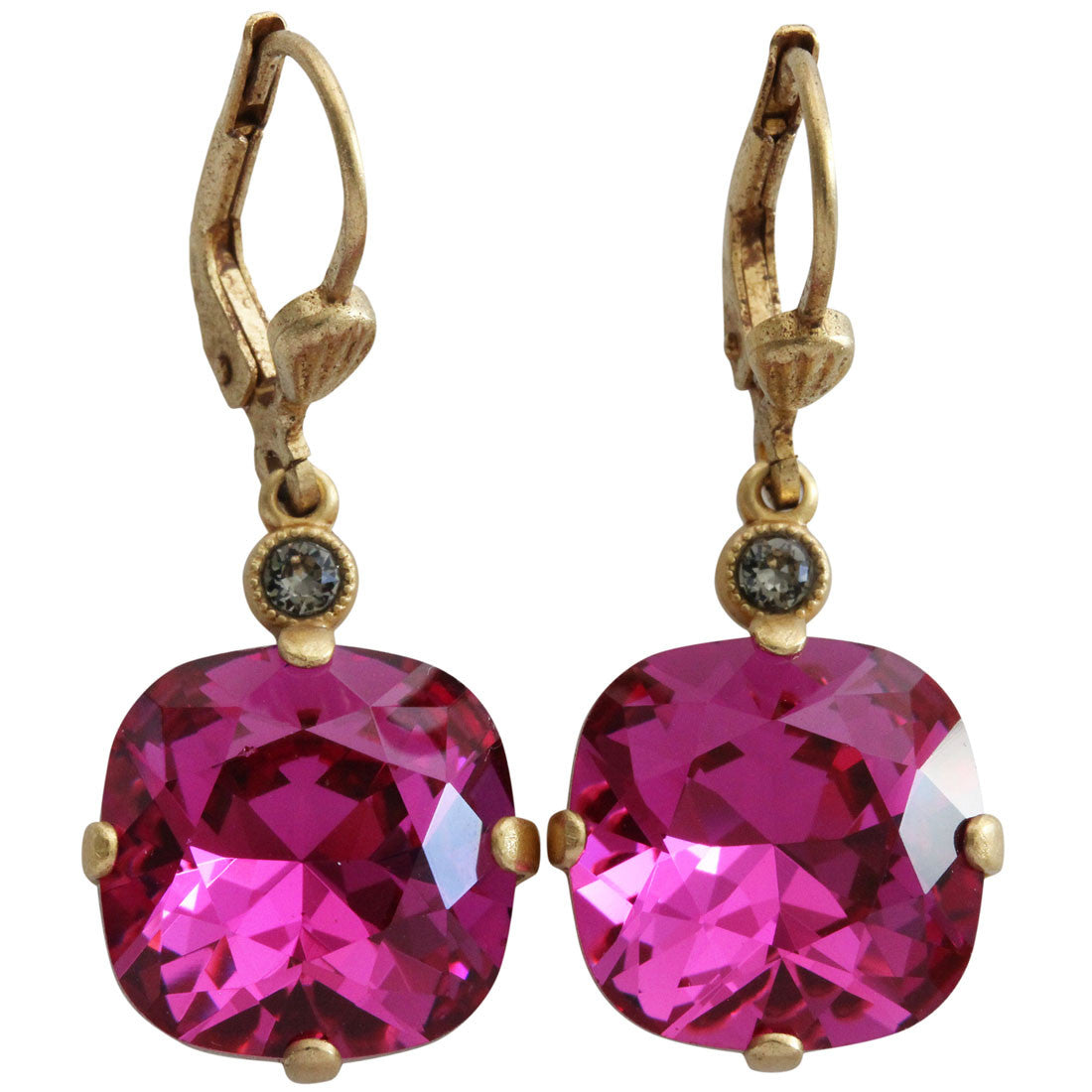 Catherine Popesco 14k Gold Plated Crystal Round Earrings, 6556G Fuchsia