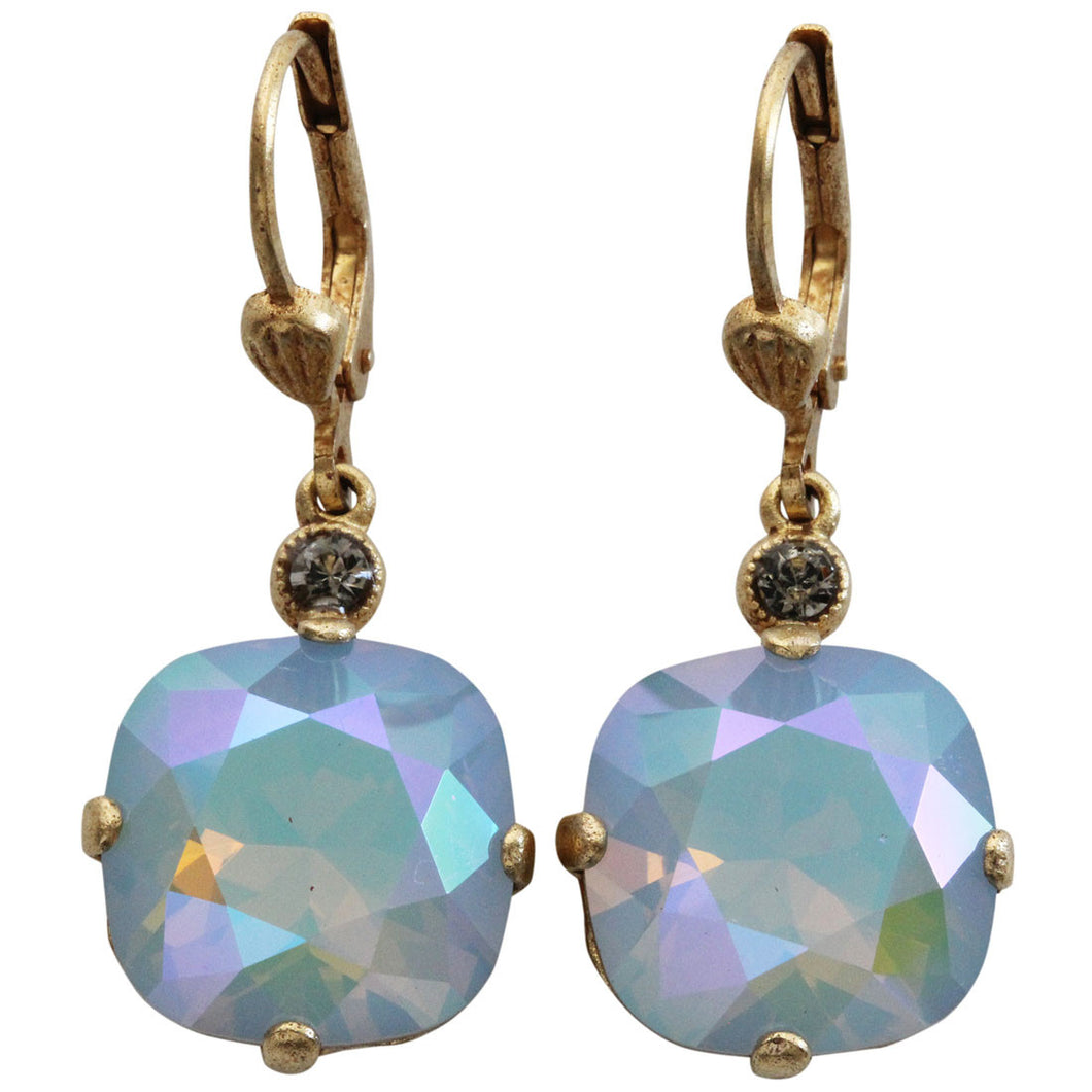 Catherine Popesco 14k Gold Plated Crystal Round Earrings, 6556G Glacier