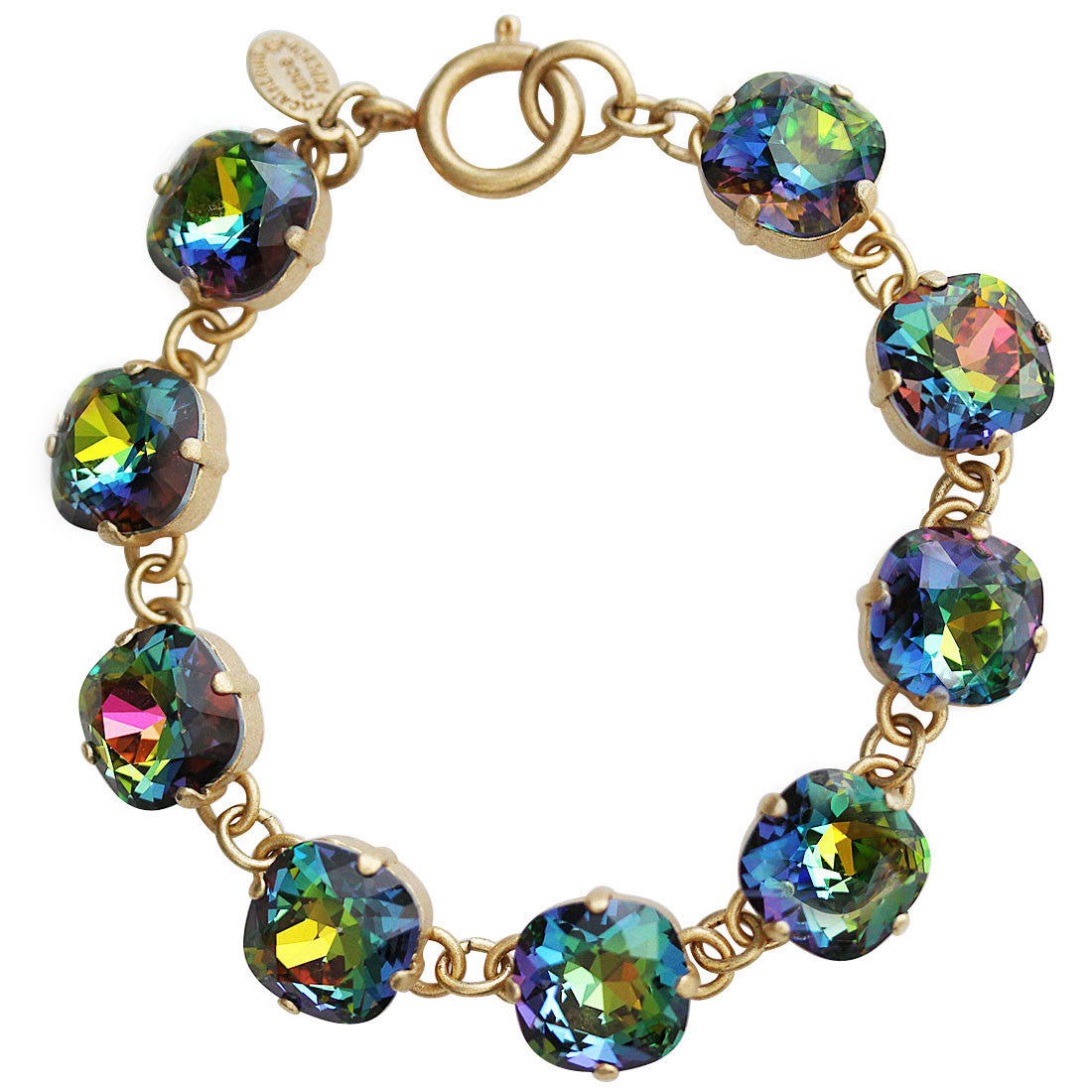 "Catherine Popesco 14k Gold Plated Crystal Round Bracelet, 7.25"" 1696G Heavy Vitrail (Rainbow) * Limited Edition *"