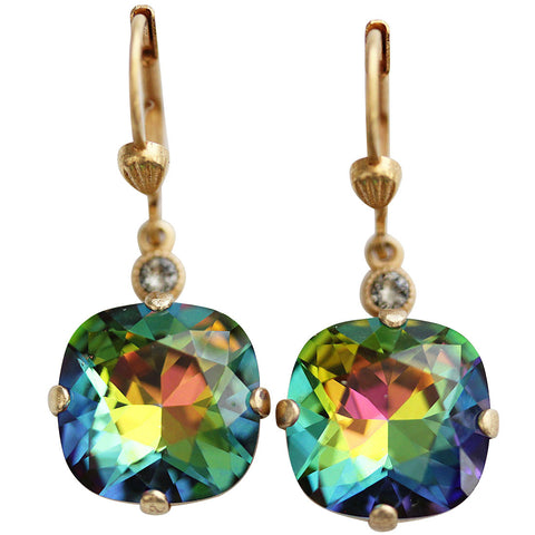 Catherine Popesco 14k Gold Plated Crystal Round Earrings, 6556G Heavy Vitrail (Rainbow) * Limited Edition *
