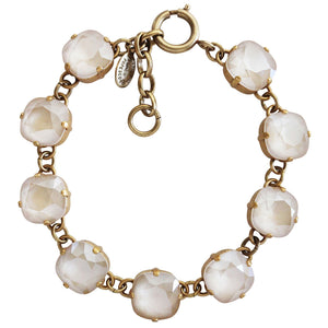 "Catherine Popesco 14k Gold Plated Crystal Round Bracelet, 7-8"" 1696G Ivory Cream"