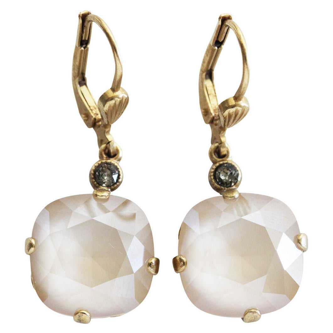 Catherine Popesco 14k Gold Plated Swarovski Crystal Round Earrings, 6556G Ivory Cream
