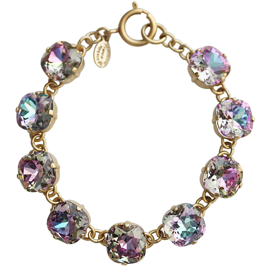 "Catherine Popesco 14k Gold Plated Crystal Round Bracelet, 7.25"" 1696G Light Vitrail (Frozen) * Limited Edition *"