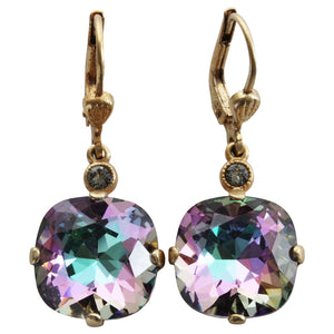 Catherine Popesco 14k Gold Plated Crystal Round Earrings, 6556G Light Vitrail (Frozen) * Limited Edition *