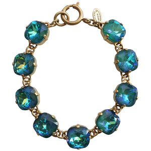 "Catherine Popesco 14k Gold Plated Crystal Round Bracelet, 7-8"" 1696G Mermaid"
