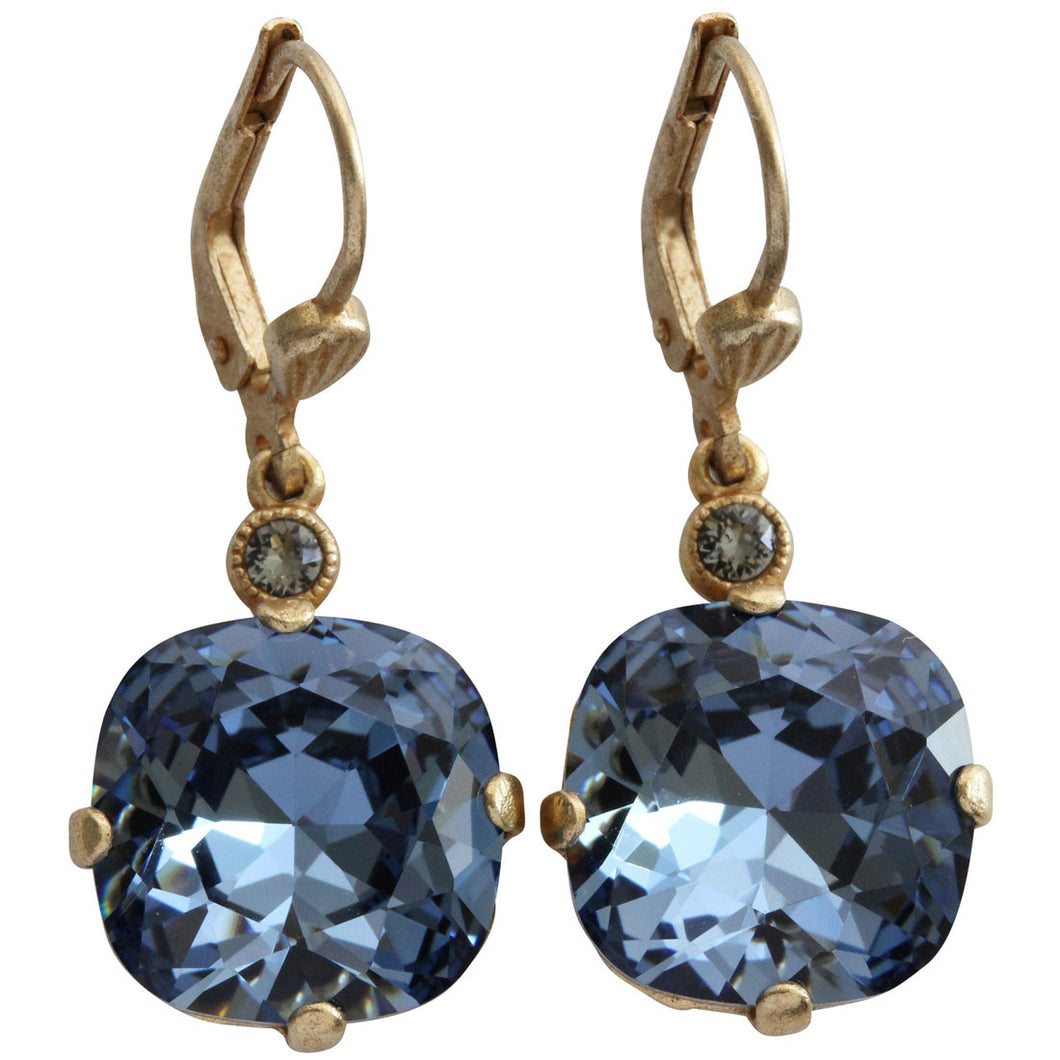 Catherine Popesco 14k Gold Plated Crystal Round Earrings, 6556G Midnight