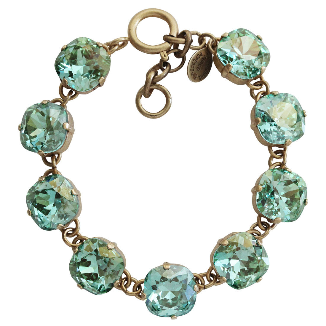"Catherine Popesco 14k Gold Plated Crystal Round Bracelet, 7.25"" 1696G Ocean Green"