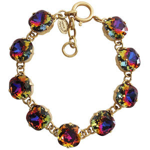 "Catherine Popesco 14k Gold Plated Crystal Round Bracelet, 7-8"" 1696G Volcano (Oil Spill) * Limited Edition *"