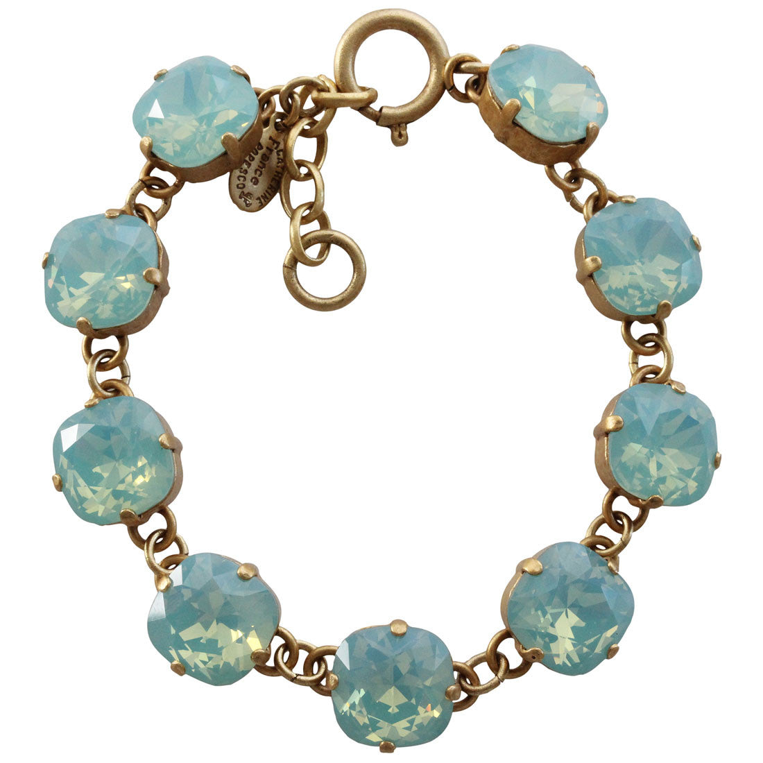 "Catherine Popesco 14k Gold Plated Crystal Round Bracelet, 7-8"" 1696G Pacific Opal"