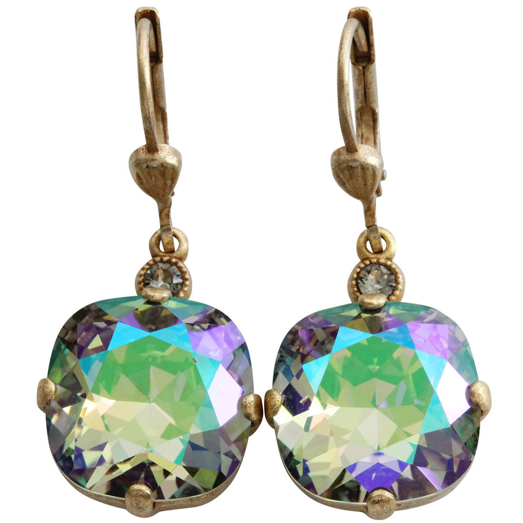 Catherine Popesco 14k Gold Plated Crystal Round Earrings, 6556G Paradise Shine