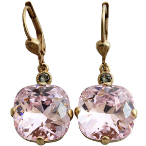 Catherine Popesco 14k Gold Plated Crystal Round Earrings, 6556G Petal