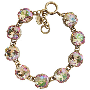 "Catherine Popesco 14k Gold Plated Crystal Round Bracelet, 7-8"" 1696G Purple Haze"