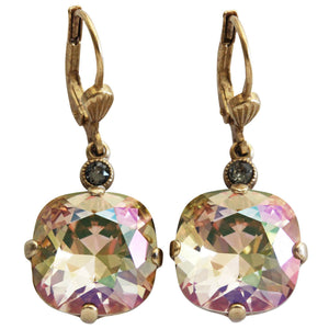 Catherine Popesco 14k Gold Plated Crystal Round Earrings, 6556G Purple Haze
