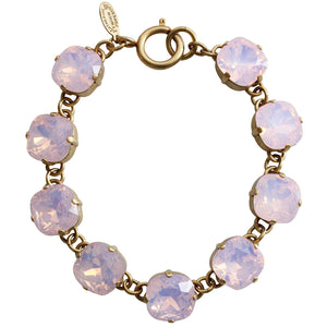 "Catherine Popesco 14k Gold Plated Crystal Round Bracelet, 7.25"" 1696G Rosewater"