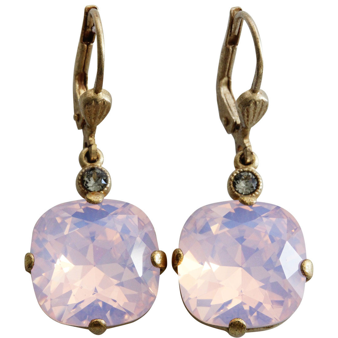 Catherine Popesco 14k Gold Plated Crystal Round Earrings, 6556G Rosewater