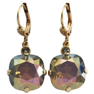 Catherine Popesco 14k Gold Plated Crystal Round Earrings, 6556G Sand Opal
