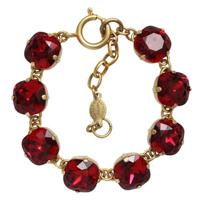 Catherine Popesco 14k Gold Plated Crystal Round Bracelet, 1696G Scarlet Red