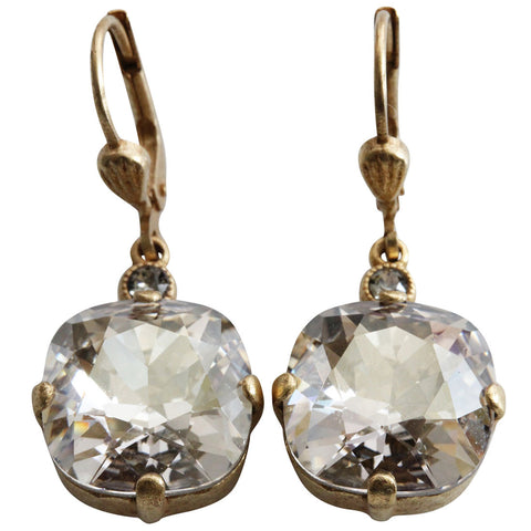 Catherine Popesco 14k Gold Plated Crystal Round Earrings, 6556G Shade