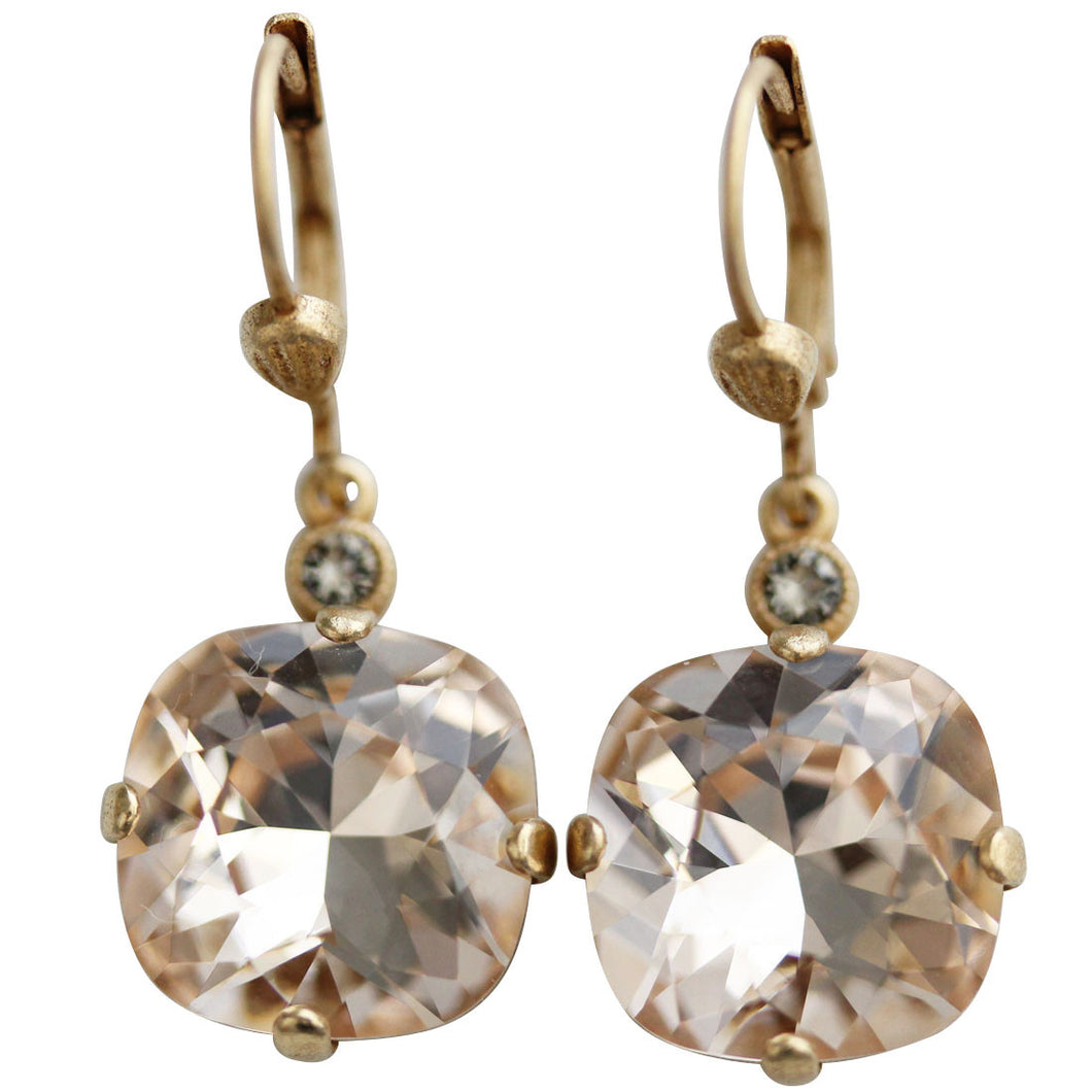 Catherine Popesco 14k Gold Plated Crystal Round Earrings, 6556G Silk (Nude) * Limited Edition *