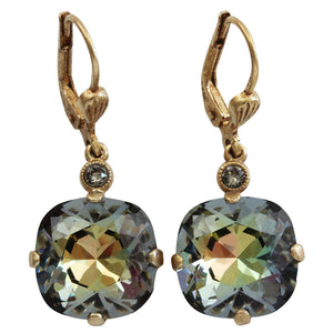 Catherine Popesco 14k Gold Plated Swarovski Crystal Round Earrings, 6556G Tabac