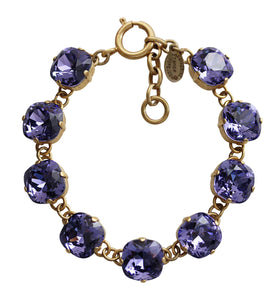 "Catherine Popesco 14k Gold Plated Crystal Round Bracelet, 7-8"" 1696G Tanzanite"
