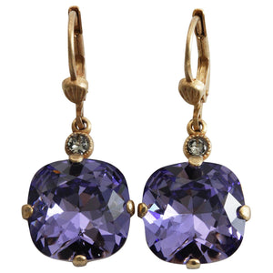 Catherine Popesco 14k Gold Plated Crystal Round Earrings, 6556G Tanzanite