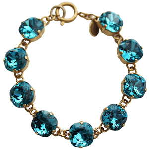 "Catherine Popesco 14k Gold Plated Crystal Round Bracelet, 7.25"" 1696G Teal"