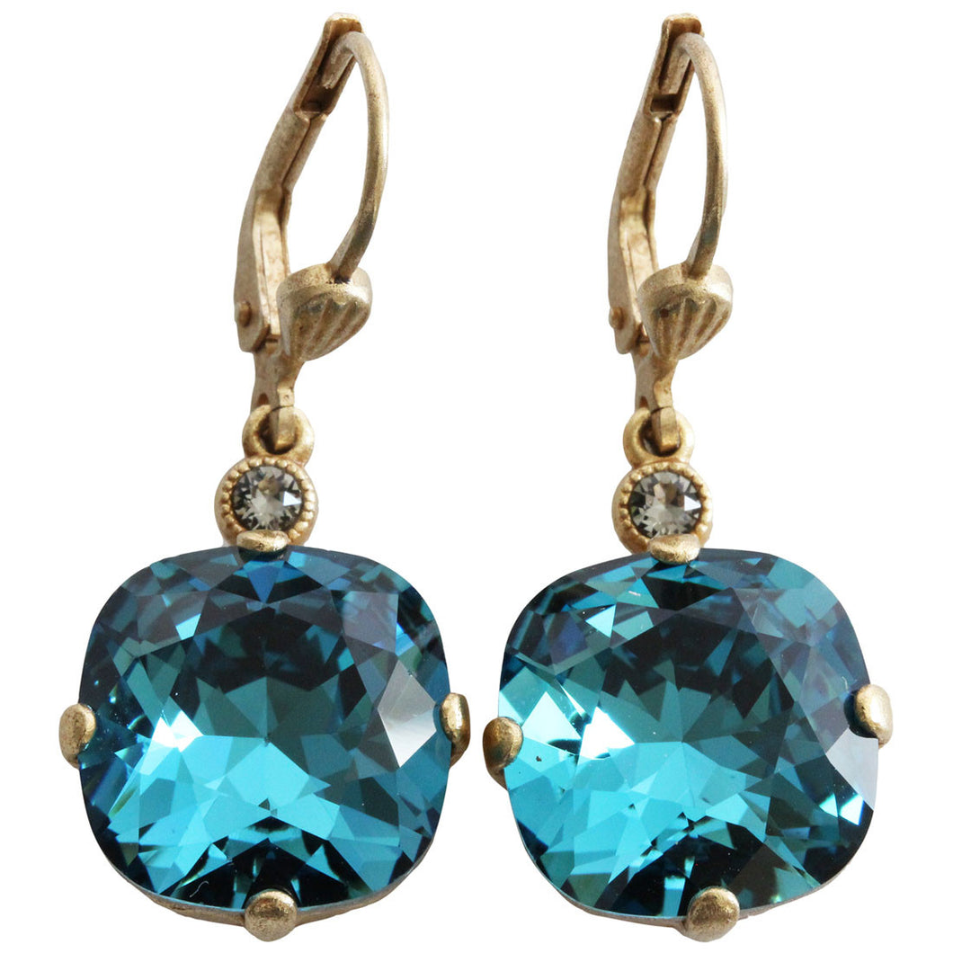 Catherine Popesco 14k Gold Plated Crystal Round Earrings, 6556G Teal