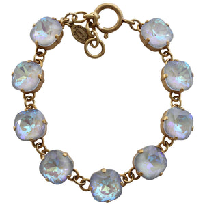 "Catherine Popesco 14k Gold Plated Crystal Round Bracelet, 7-8"" 1696G Ultra Arctic"