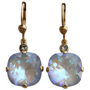 Catherine Popesco 14k Gold Plated Crystal Round Earrings, 6556G Ultra Arctic