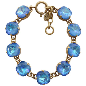 "Catherine Popesco 14k Gold Plated Crystal Round Bracelet, 7-8"" 1696G Ultra Blue"