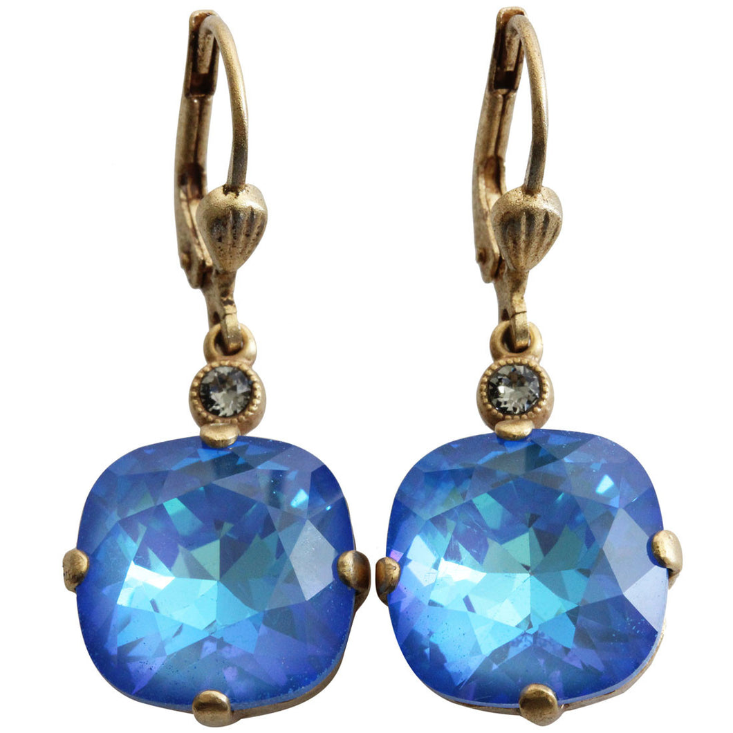Catherine Popesco 14k Gold Plated Crystal Round Earrings, 6556G Ultra Blue