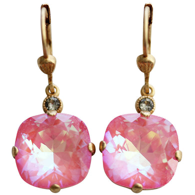 Catherine Popesco 14k Gold Plated Crystal Round Earrings, 6556G Ultra Blush