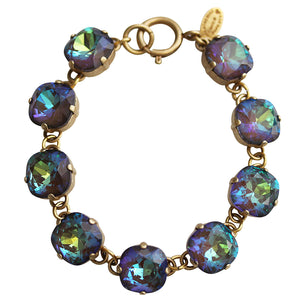 "Catherine Popesco 14k Gold Plated Crystal Round Bracelet, 7.25"" 1696G Ultra Coco"