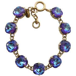 "Catherine Popesco 14k Gold Plated Crystal Round Bracelet, 7-8"" 1696G Ultra Purple"