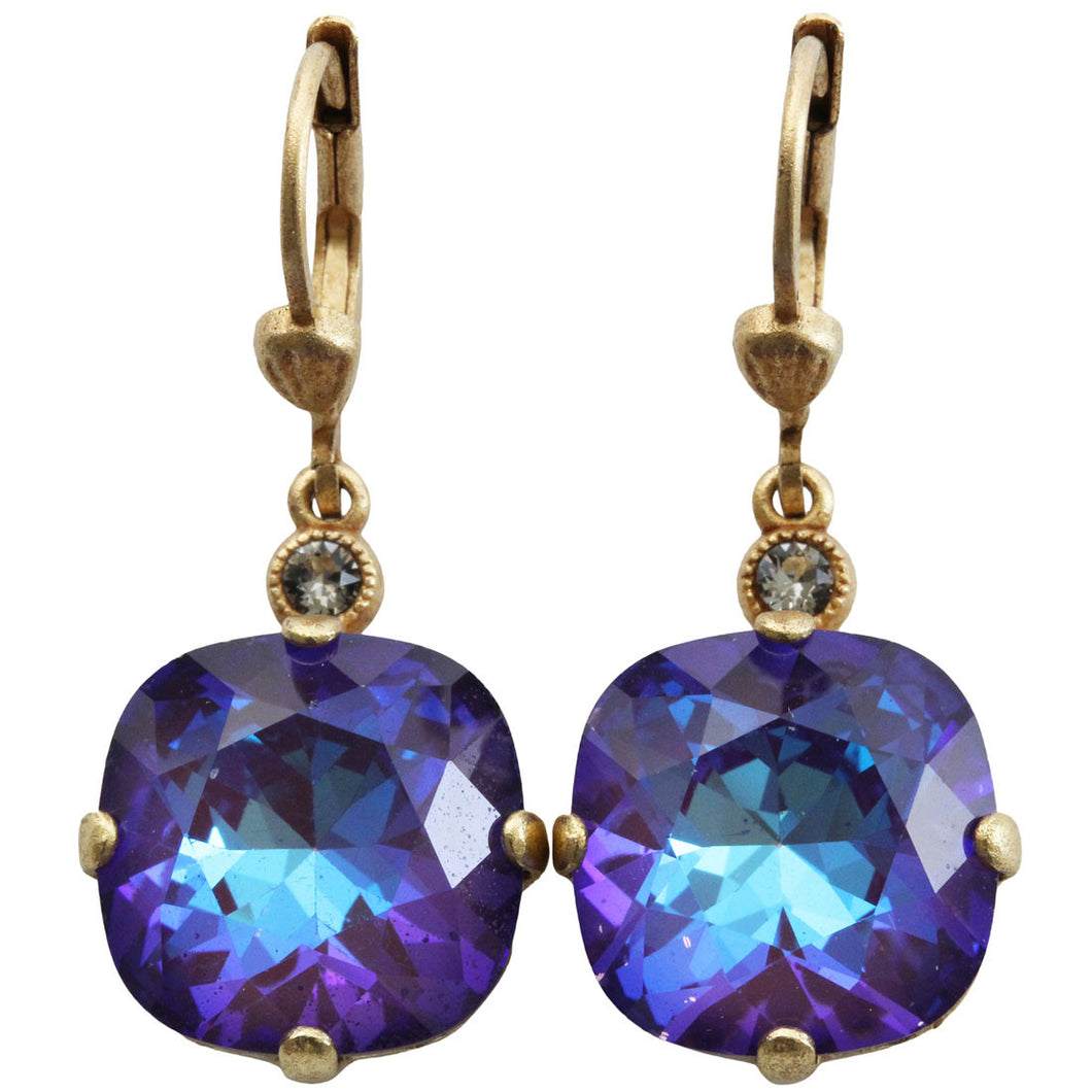 Catherine Popesco 14k Gold Plated Crystal Round Earrings, 6556G Ultra Purple