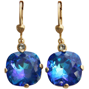 Catherine Popesco 14k Gold Plated Crystal Round Earrings, 6556G Ultra Sky