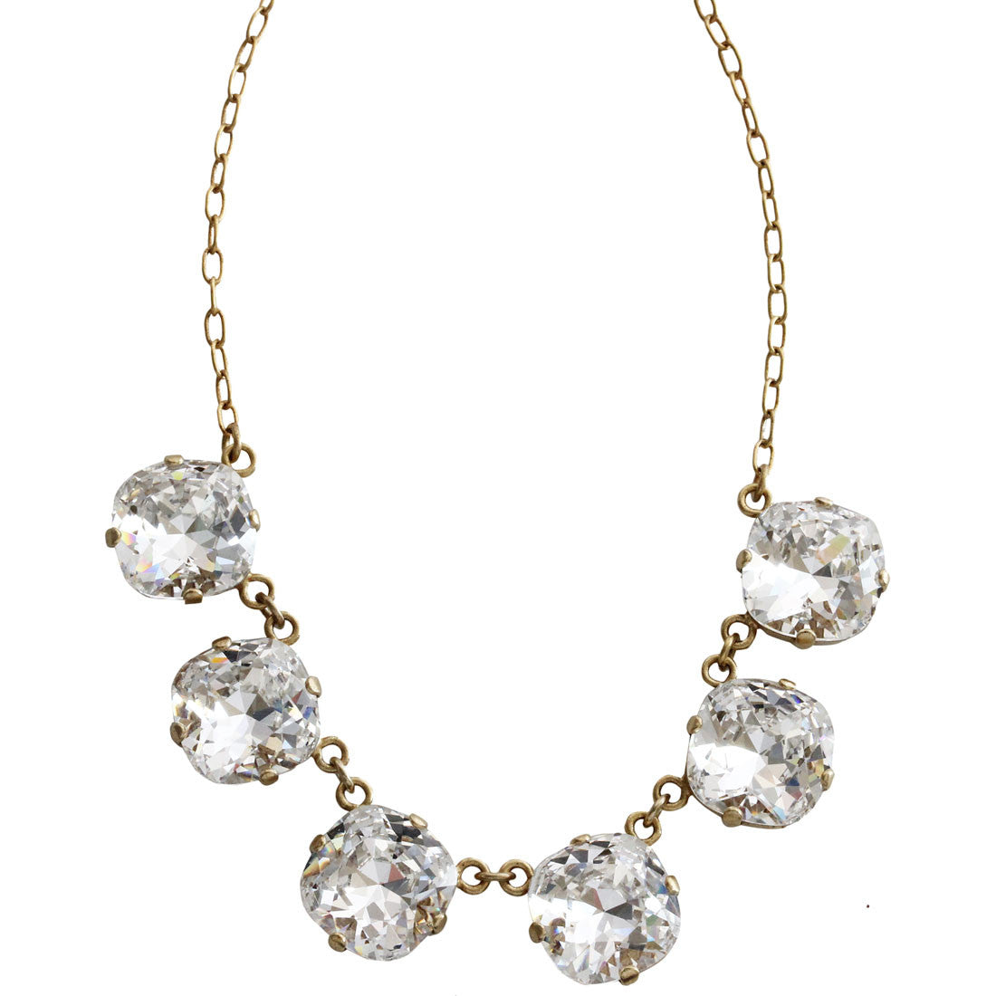 "Catherine Popesco 14k Gold Plated Crystal Round Necklace, 16"" + 2"" Extender 1257G Clear"