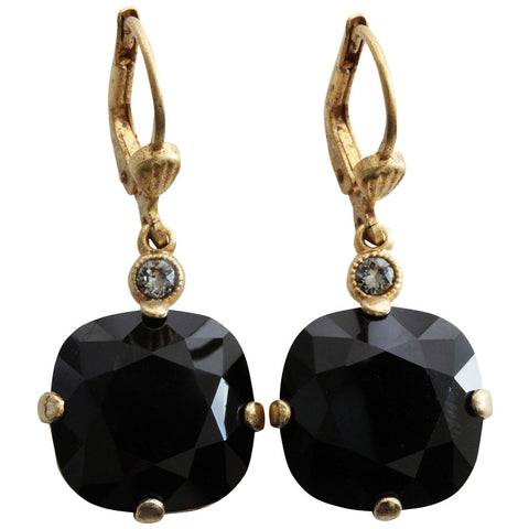 Catherine Popesco 14k Gold Plated Crystal Round Earrings, 6556G Jet