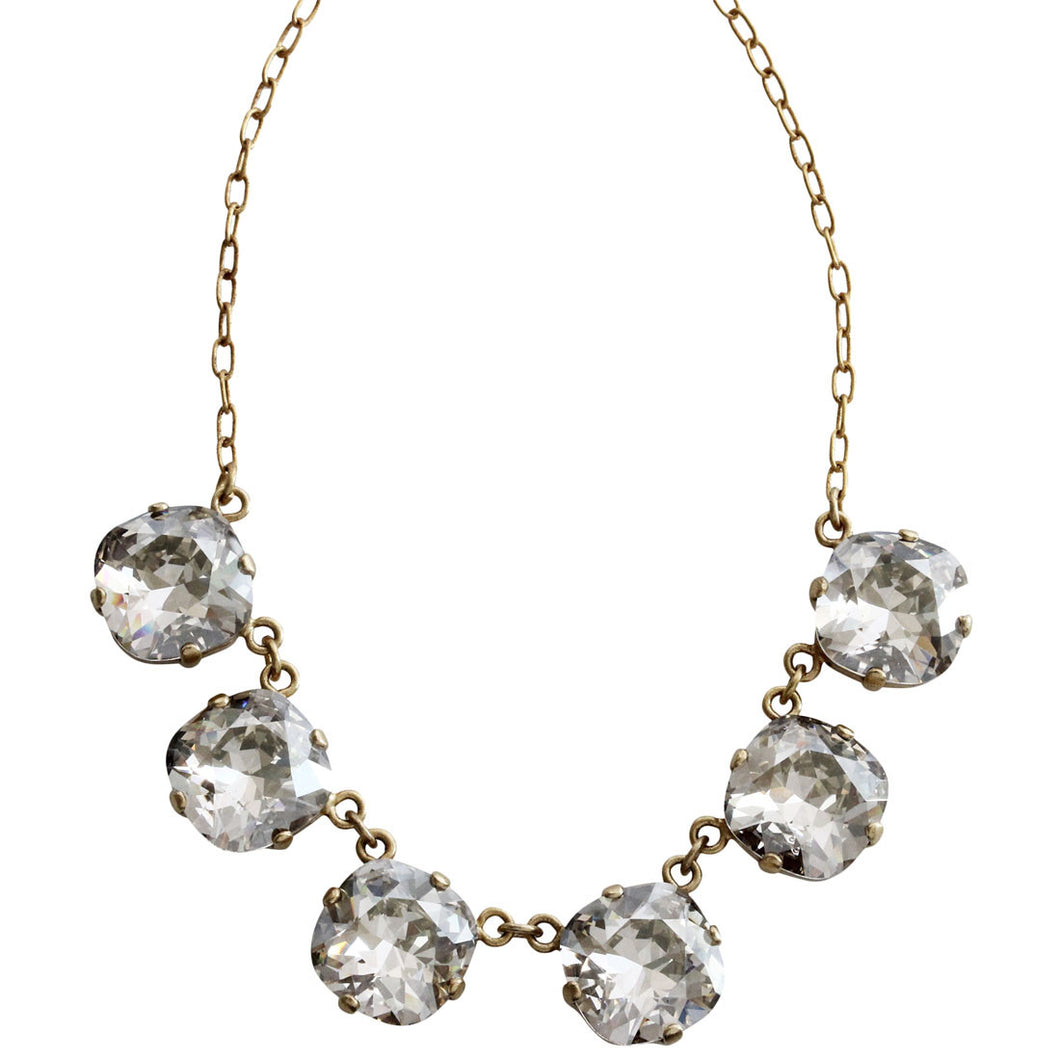 Catherine Popesco 14k Gold Plated Crystal Round Necklace, 16