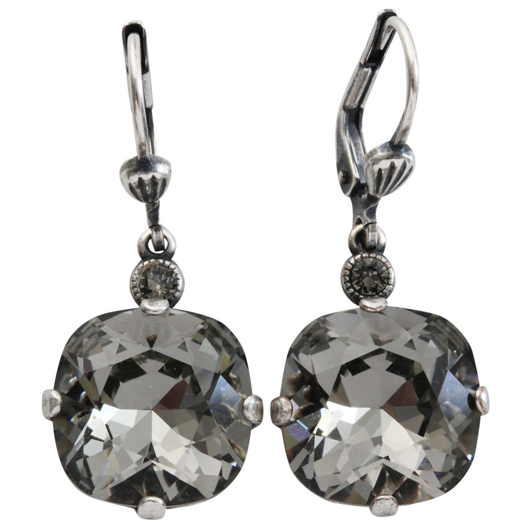 Catherine Popesco Sterling Silver Plated Crystal Round Earrings, 6556 Black Diamond * Limited Edition *
