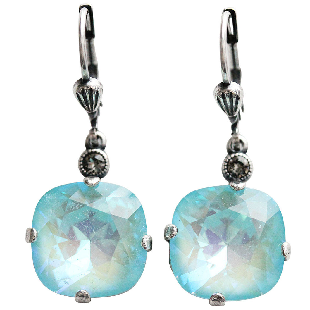 Catherine Popesco Sterling Silver Plated Crystal Round Earrings, 6556 Blue Lagoon