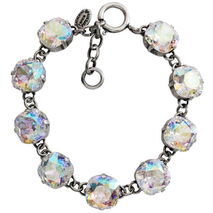 "Catherine Popesco Sterling Silver Plated Crystal Round Bracelet, 7-8"" 1696 Crystal AB"